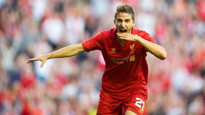 LIVERPOOL, ENGLAND - Thursday, August 9, 2012: Liverpool's Fabio Borini celebrates scoring the opening goal against FC Gomel on his home debut during the UEFA Europa League Third Qualifying Round 2nd Leg match at Anfield. (Pic by David Rawcliffe/Propaganda)