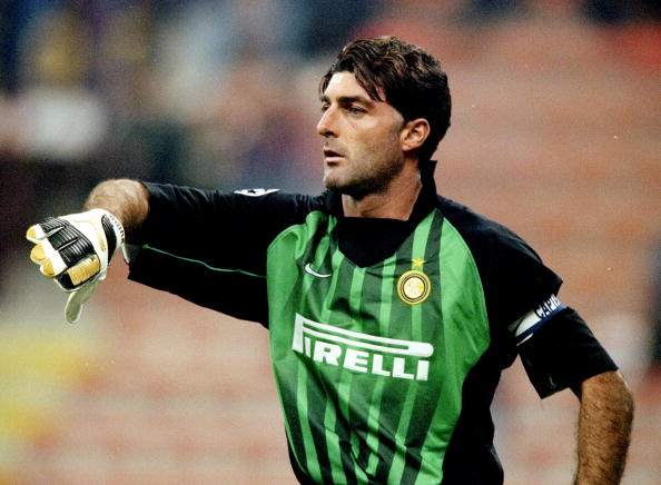 21 Oct 1998:  Gianluca Pagliuca of Inter Milan in the UEFA Champions League match against Spartak Moscow at the San Siro in Milan, Italy. Inter won 2-1.  Mandatory Credit: Shaun Botterill /Allsport