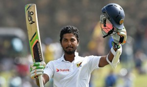 Dinesh Chandimal after his extra-ordinary century, which gave to Srilanka a lead of 175 runs in second innings.